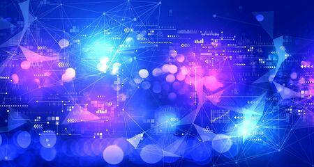 Écran de technologie avec fond clair abstrait flou de technologie