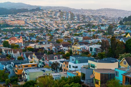 View of residential neighborhood in San Francisco, CA