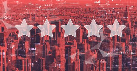 Rating star concept with the New York City skyline