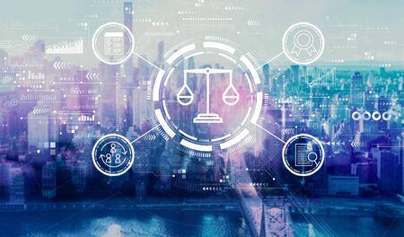 Legal advice service concept with the New York City skyline near midtown