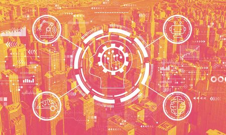 Future technology concept with the New York City skyline Banco de Imagens
