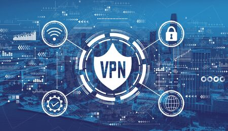 VPN concept with downtown San Francisco skyline buildings