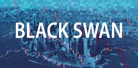 Black Swan theme with Manhattan New York City skyscrapers