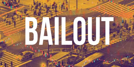 Bailout theme with a busy city intersection