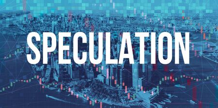 Speculation theme with Manhattan New York City skyscrapers