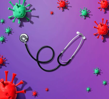 Stethoscope with coronavirus theme overhead view - flat lay Stock fotó