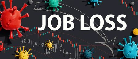 Job Loss theme with viruses and downward stock price charts