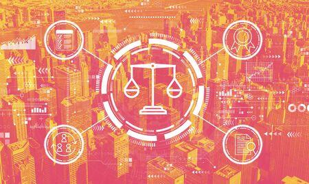 Legal advice service concept with the New York City skyline Banco de Imagens - 143931035