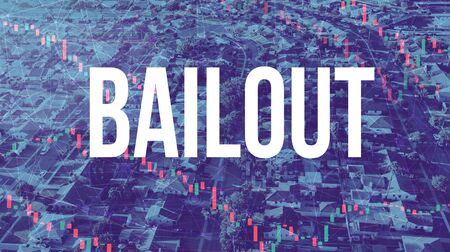 Bailout theme with aerial view of residential Los Angeles