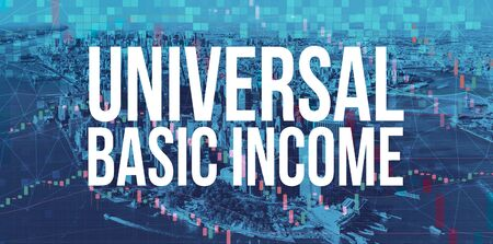 Universal Basic Income theme with Manhattan New York City skyscrapers Фото со стока
