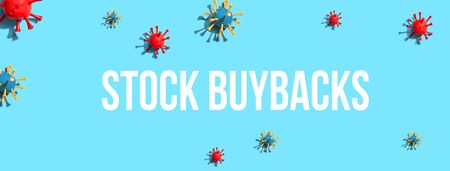 Stock Buybacks theme with virus craft objects - flat lay