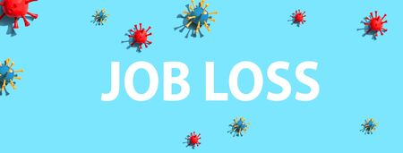 Job Loss theme with virus craft objects - flat lay
