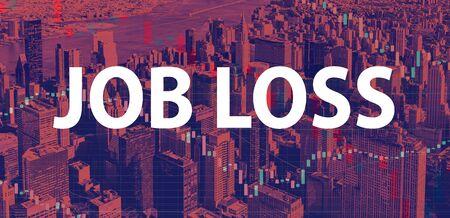 Job Loss theme with Manhattan New York City skyscrapers