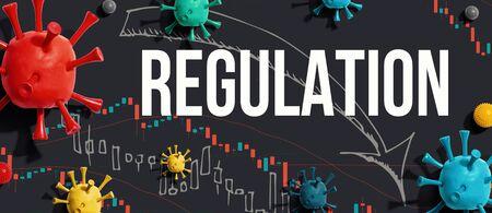 Regulation theme with viruses and downward stock price charts Фото со стока