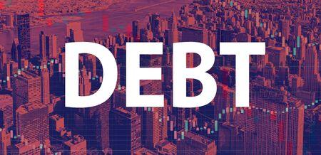 Debt theme with Manhattan New York City skyscrapers