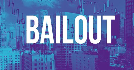 Bailout theme with downtown Los Angeles skycapers Foto de archivo