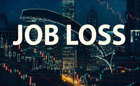 Job Loss theme with Chicago skyscrapers at night 版權商用圖片