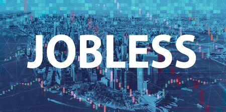 Jobless theme with Manhattan New York City skyscrapers 版權商用圖片