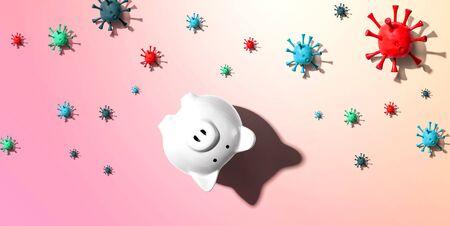 Upside down piggy bank with epidemic influenza and Coronavirus concept