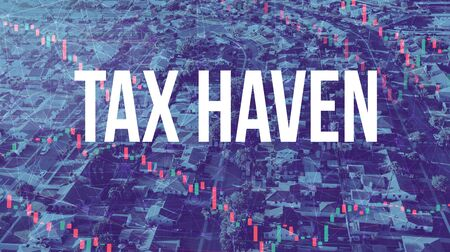 Tax Haven theme with aerial view of residential Los Angeles
