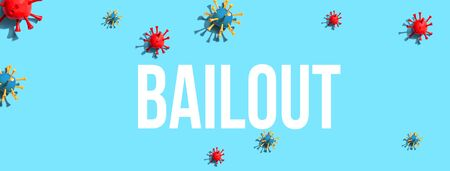 Bailout theme with virus craft objects - flat lay