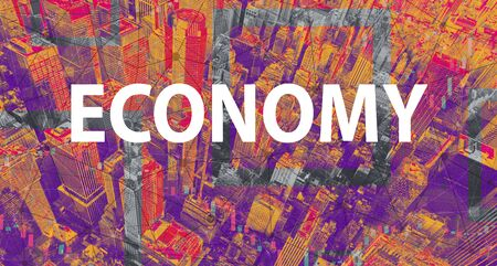 Economy theme with Manhattan New York City skyscrapers