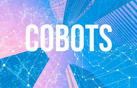 Cobots theme with abstract network patterns and skyscrapers Stock fotó