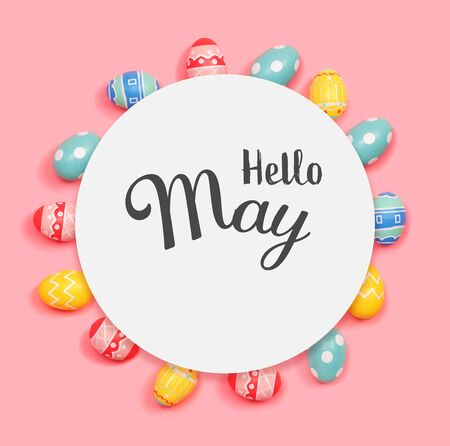 Hello May message with round frame of Easter eggs