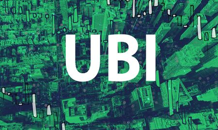 UBI theme with aerial view of Manhattan New York skyscrapers