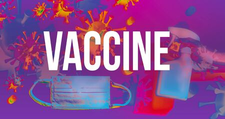 Vaccine theme with viruses, face mask and cleaning spray bottle