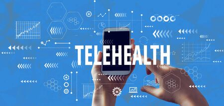 Telehealth theme with person holding a white smartphone Standard-Bild