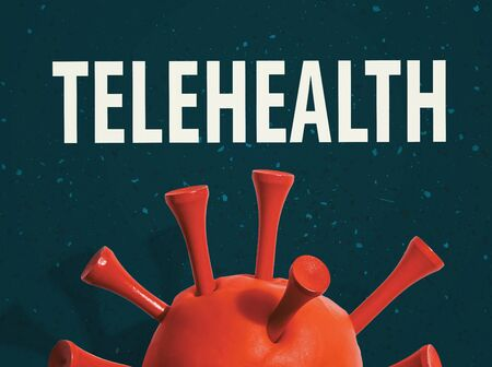 Telehealth theme with a big red virus object