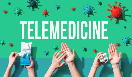 Telemedicine theme with person washing their hands with sanitizer Standard-Bild