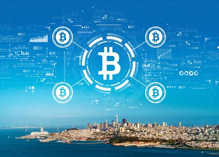 Bitcoin theme with aerial view of the bay in San Francisco