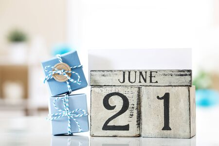 June 21 Fathers day theme with small gift boxes Standard-Bild