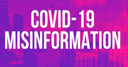 Covid-19 Misinformation theme with downtown Los Angeles skycapers Standard-Bild