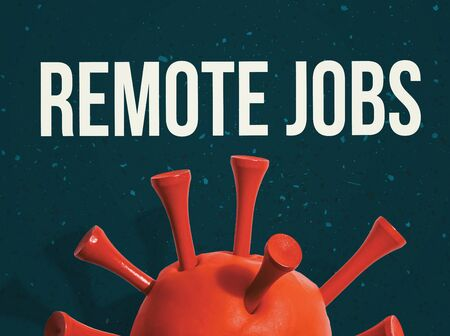Remote Jobs Covid-19 theme with a big red virus object