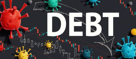 Debt theme with viruses and downward stock price charts