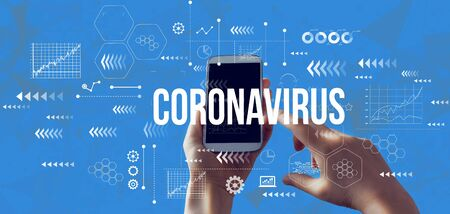 Coronavirus theme with person holding a white smartphone Standard-Bild