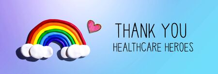 Thank You Healthcare Heroes message with a rainbow and a heart Standard-Bild