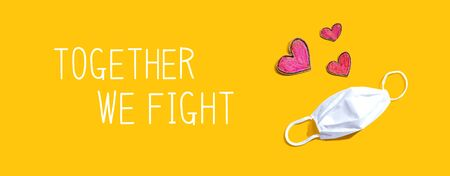 Together We Fight message with a face mask and heart drawings Banco de Imagens
