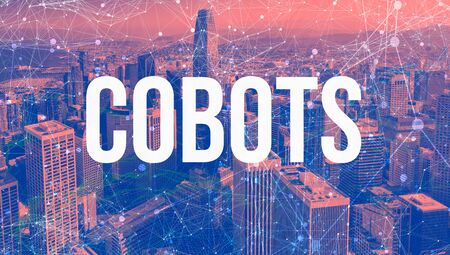 Cobots theme with abstract network patterns and downtown San Francisco skyscrapers