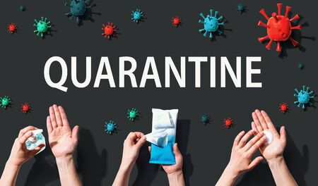 Quarantine Coronavirus theme with hygiene and viral objects