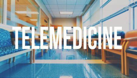 Telemedicine theme with a medical office reception waiting room background
