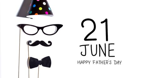 Fathers Day message with glasses and moustache party sticks