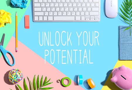 Unlock your potential with office supplies and a computer keyboard