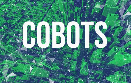 Cobots theme with abstract network patterns and Manhattan NY skyscrapers