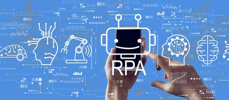Robotic Process Automation RPA theme with person holding a white smartphone