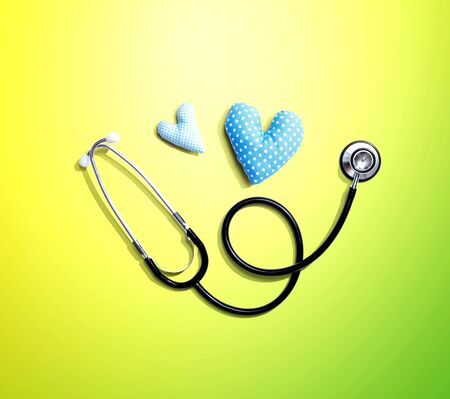 Medical worker appreciation theme with hearts and a stethoscope Banco de Imagens
