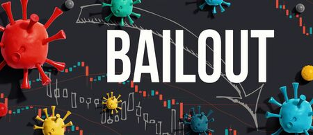 Bailout theme with viruses and downward stock price charts